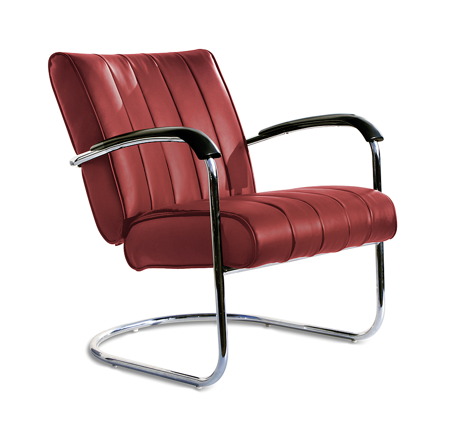 Bel air lounge chair wachtkamerstoel buizenframe LC-02_RUBY