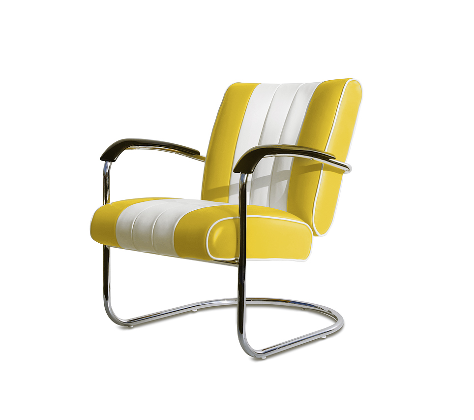 Bel air two tone lounge chair wachtkamerstoel buizenframe LC-01_YELLOW