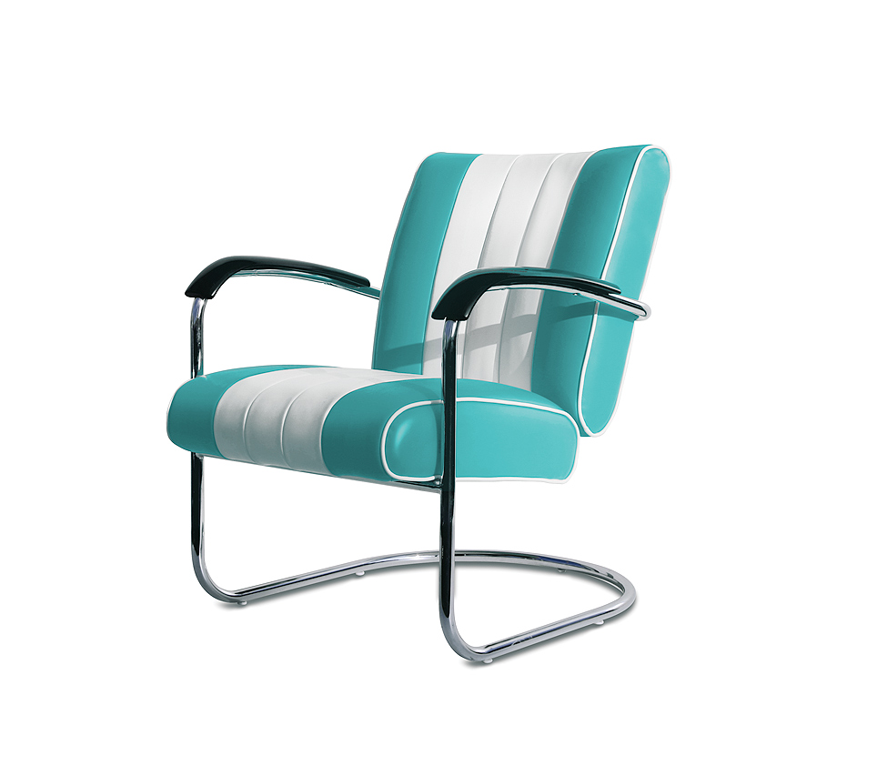 Turquiose Bel air lounge chair wachtkamerstoel buizenframe LC-01_TURQOISE