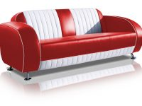 belair two tone fifties driezitter sofa couch SF-02CB G63 red