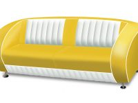 belair two tone fifties tweezitter sofa couch SF-02CB_YELLOW