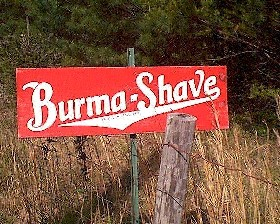 Burma-Shave reclame in de fifties