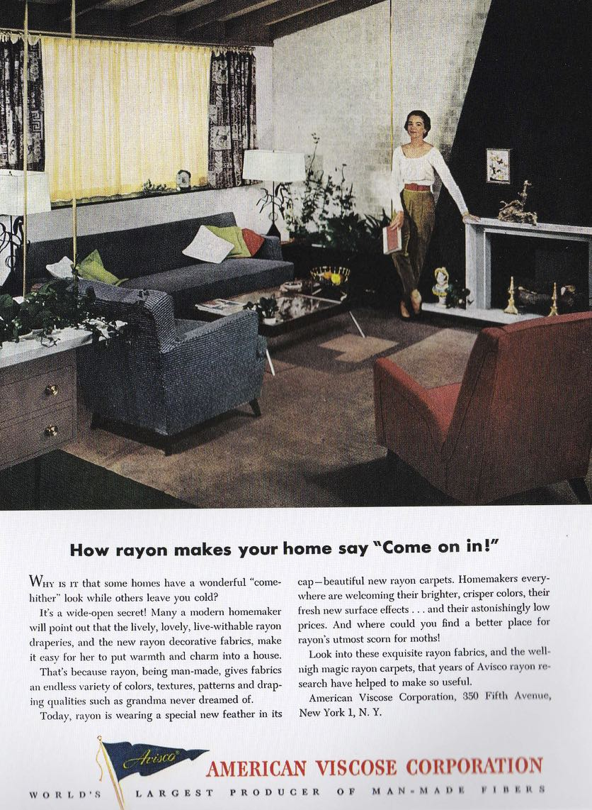 rayon fabric fifties advertising